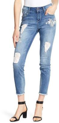 Seven7 Raw Ankle Lace Inset Skinny Jeans