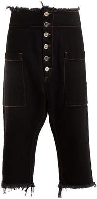 Marques Almeida Marques'almeida - Dropped Crotch Raw Edge Jeans - Womens - Black