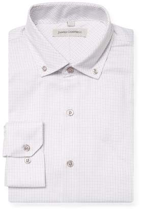 James Campbell Men's Printed Button-Down Barrel Dress Shirt