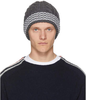 Thom Browne Grey Cashmere Cable Knit Four Bar Beanie