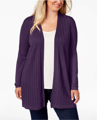 Karen Scott Plus Size Long Pointelle-Knit Cardigan Sweater