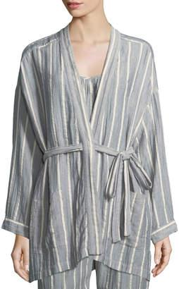 Neiman Marcus Xirena Ryder Striped Cotton Robe