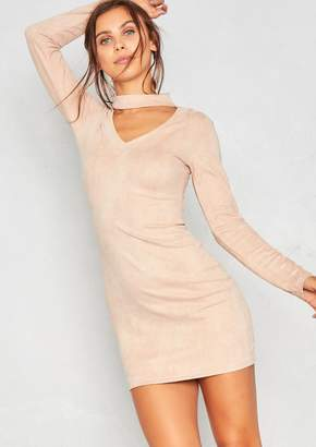 e03be748ee Missy Empire Missyempire Amari Nude Faux Suede Choker Dress