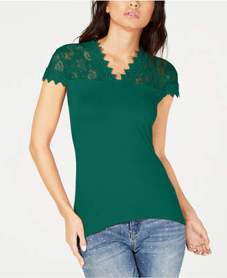 INC International Concepts I.n.c. Lace-Trim T-Shirt