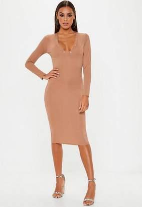 Missguided Camel Ribbed Popper Midi Dress