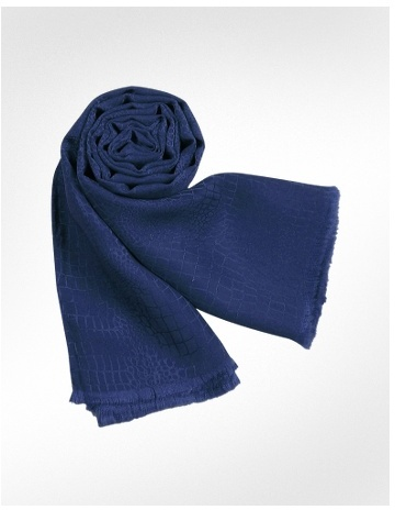 Renato Balestra Navy Blue Croco Patterned Pure Silk Long Scarf
