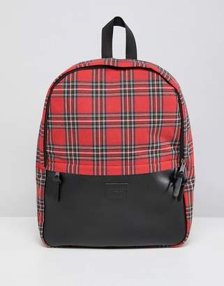 Asos DESIGN backpack in red plaid check and faux leather pocket