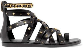 Balmain Embellished Leather Sandals - Black
