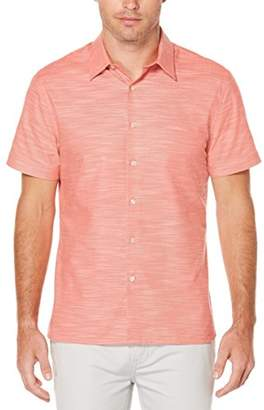 Perry Ellis Men's Short Sleeve Solid Slub Texture Shirt