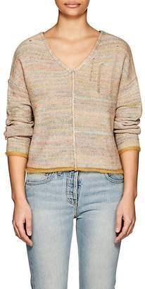Raquel Allegra Women's Mixed-Stitch Cotton-Blend V-Neck Sweater