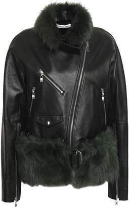 ADEAM Shearling-trimmed Leather Biker Jacket