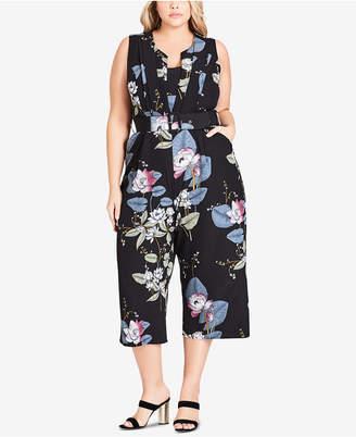 c769a5bcd8cd City Chic Trendy Plus Size Cropped Wide-Leg Jumpsuit