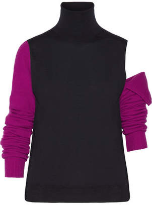 CALVIN KLEIN 205W39NYC - Convertible Wool Turtleneck Sweater - Midnight blue $725 thestylecure.com