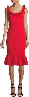 Nanette Lepore Nanette Ruffle-Trim Sleeveless Sheath Dress