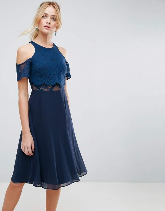 AsosASOS Lace Cold Shoulder Crop Top Skater Midi Dress