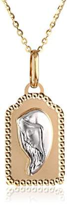 14k Gold Two-Tone Mother Mary Medal Pendant Necklace