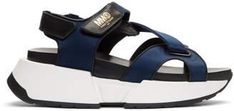 Maison Margiela Navy and Black Satin Sandals