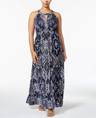 INC International Concepts Plus Size Beaded Maxi Dress, Only at Macy's $109.50 thestylecure.com