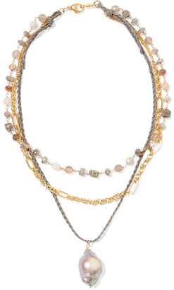 Chan Luu Layered Gold-plated And Cord Multi-stone Necklace