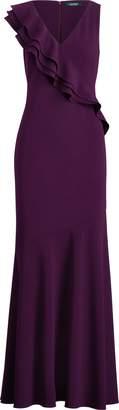 Ralph Lauren Ruffle-Trim Crepe Gown