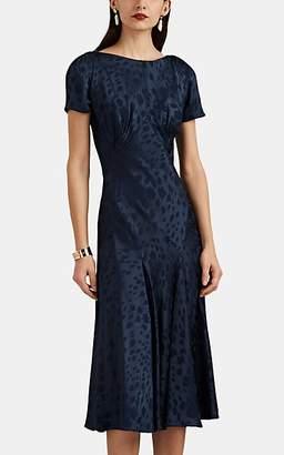 Zac Posen Women's Floral Jacquard Midi-Dress - Navy