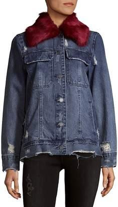 Blank NYC Women's Faux Fur-Trimmed Denim Jacket
