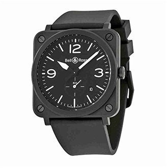 Bell & Ross Bell and Ross Aviationブラックダイヤルマットブラックセラミックメンズ時計blrbrs-bl-cem