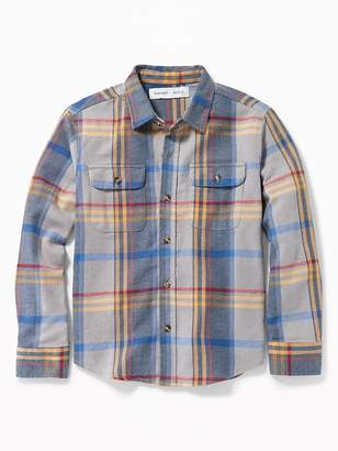 Old Navy Built-In Flex Plaid Flannel Pocket Shirt for Boys