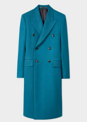 Paul Smith Men's Teal Houndstooth Check Double-Breasted Wool Overcoat
