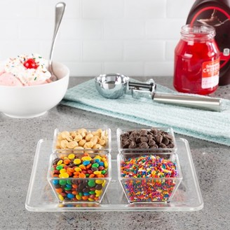 Serving Tray with 4 Dishes-Condiment Holder with Separate Bowls for Nuts, Ice Cream Toppings, Condiments, Drink Garnishes and More by Classic Cuisine