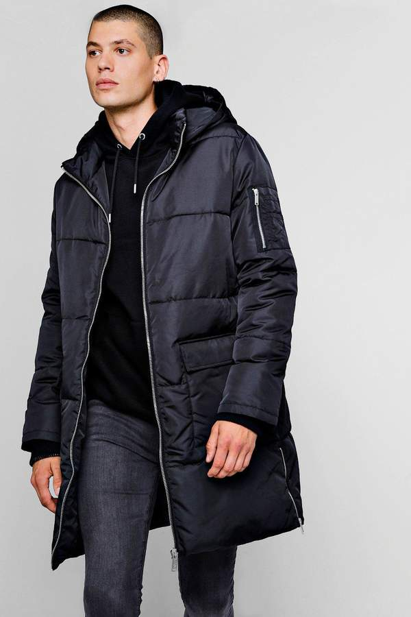 Hooded Longline Puffer With Side Zips