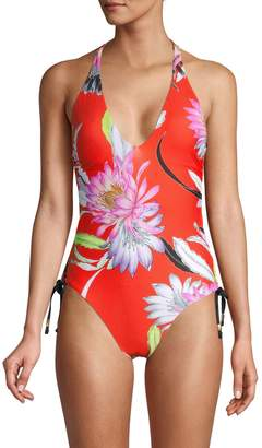 Trina Turk Ruched Floral 1-Piece Swimsuit