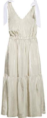 SEA - Poplin-trimmed Striped Voile Midi Dress - Cream $435 thestylecure.com