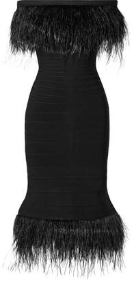 Herve Leger Off-the-shoulder Feather-trimmed Bandage Dress - Black