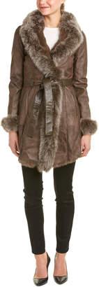 La Fiorentina Belted Leather Coat