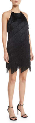 Halston Sleeveless High-Neck Fringe Slip Cocktail Dress