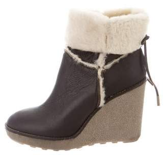 Moncler Leather Wedge Booties