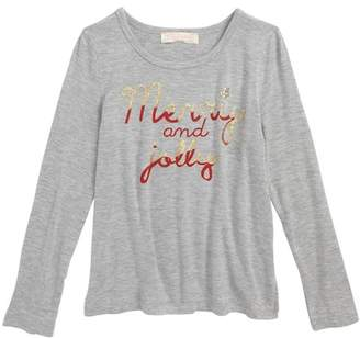 Truly Me Merry & Jolly Screenprint Tee (Toddler & Little Girls)