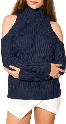 BerryGo Women's Sexy Cold Shoulder Turtleneck Knit Pullover Sweater