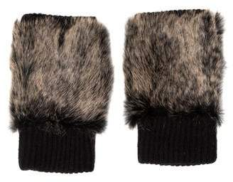 Adrienne Landau Fur-Trimmed Wool Gloves