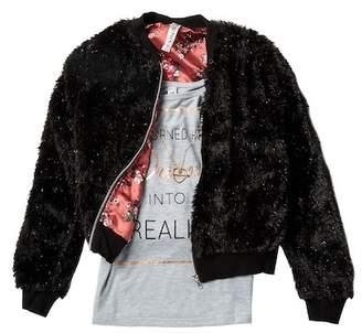 Beautees Graphic Tank, Sparkle Faux Fur Bomber Jacket & Necklace Set (Big Girls)