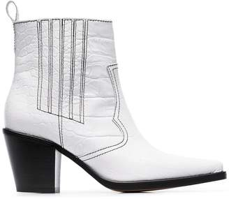 Ganni white Callie 80 leather ankle boots