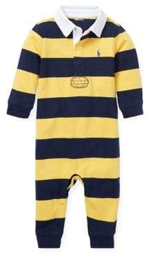 Ralph Lauren Childrenswear Baby Boy's Striped Cotton Rugby Coverall