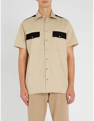 SSS WORLD CORP Colour-blocked regular-fit cotton shirt