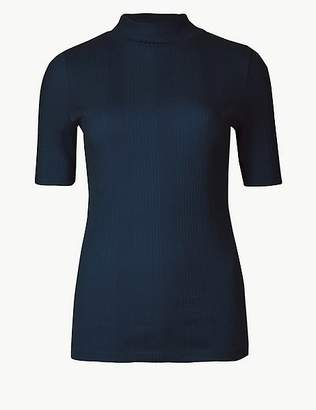 Marks and Spencer Pure Cotton Ribbed High Neck T-Shirt