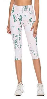 Mint Lilac Women's Printed Leggings Workout Capri Yoga Pants