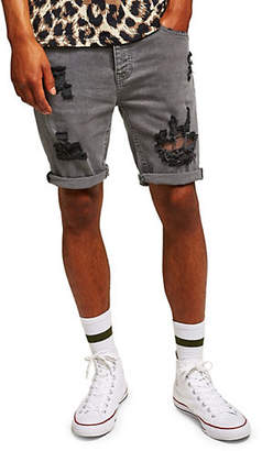 Topman Stretch Skinny Ripped Denim Shorts