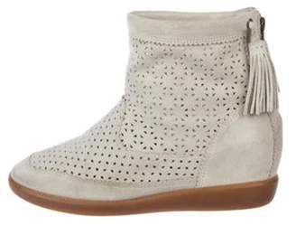 Isabel Marant Suede Perforated Ankle Boots Grey Suede Perforated Ankle Boots