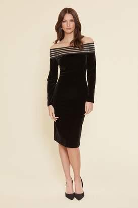 Gina Bacconi Womens Black Adaira Velvet Off The Shoulder Dress - Black