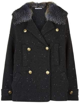 Brunello Cucinelli Sequin Knit Jacket with Fox Fur Collar